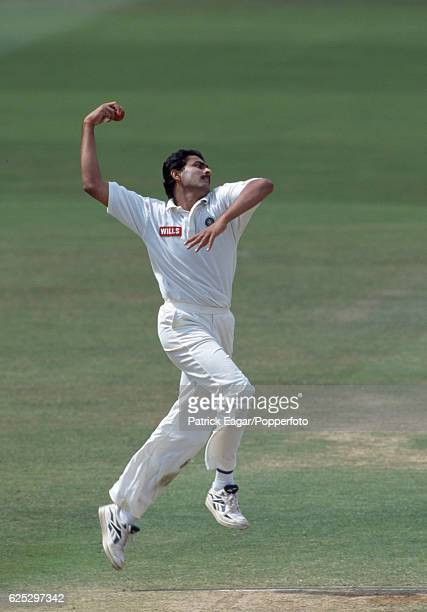 Anil Kumble bowling for India during the 2nd Test match between England and India at Lord's Cricket Ground London 20th June 1996