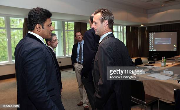 Anil Kumble chats with John Stephenson during the ICC Cricket Committee meeting at Lord's on May 28 2013 in London England