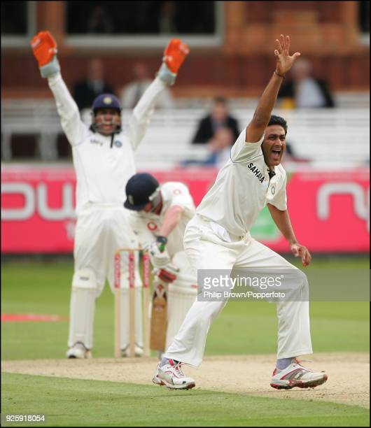 Anil Kumble of India appeals successfully for the wicket of England batsman Paul Collingwood out LBW for 0 during the 1st Test match between England...