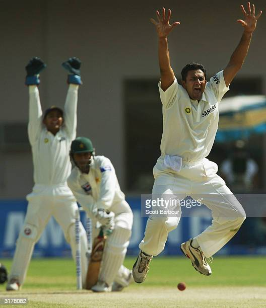 Anil Kumble of India appeals unsuccessfully for the wicket of Pakistani batsman Abdul Razzaq during day four of the 1st Test Match between Pakistan...