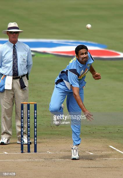Anil Kumble of India bowling during the ICC Cricket World Cup Pool A match between India and Pakistan held on March 1 2003 at the Supersport Stadium...