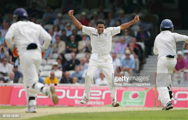 Anil Kumble of India celebrates getting the wicket of England batsman Alastair Cook during the 3rd Test match between England and India at The Oval...