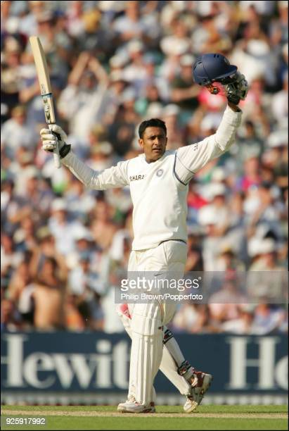 Anil Kumble of India celebrates his first Test century during his innings of 110 in the 3rd Test match between England and India at The Oval London...