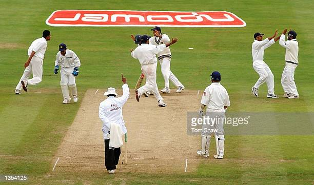 Anil Kumble of India celebrates the wicket of Nasser Hussain of England during the fifth day of the third Npower test match at Headingley in Leeds on...