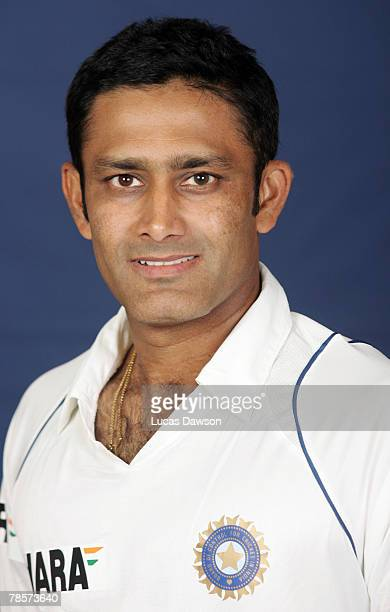 Anil Kumble of India poses during the Indian cricket team portrait session at the Melbourne Cricket Ground on December 19 2007 in Melbourne Australia