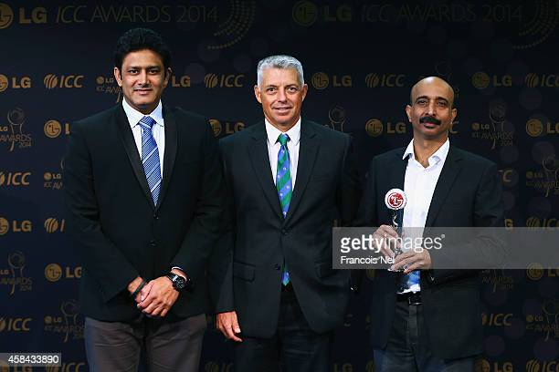 Anil KumbleChairman of the ICC Cricket CommiteeDavid Richardson ICC Chief Executive and Sanjay Chitkara HeadCorporate Marketing LG Electronics pose...