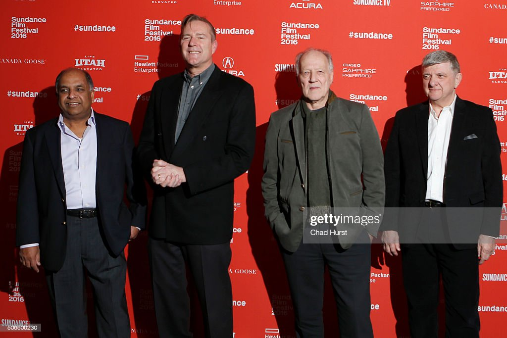 Anil Singhal, Jim McNiel, Werner Herzog, and Michael Szabados attend the 'Lo And Behold, Reveries Of The Connected World' Premiere during the 2016 Sundance Film Festival at The Marc Theatre on January 23, 2016 in Park City, Utah.