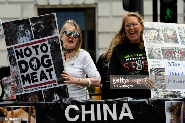Animal activists hold placards outside the Chinese embassy during a protest Animal activists gathered outside the Chinese embassy in London to...