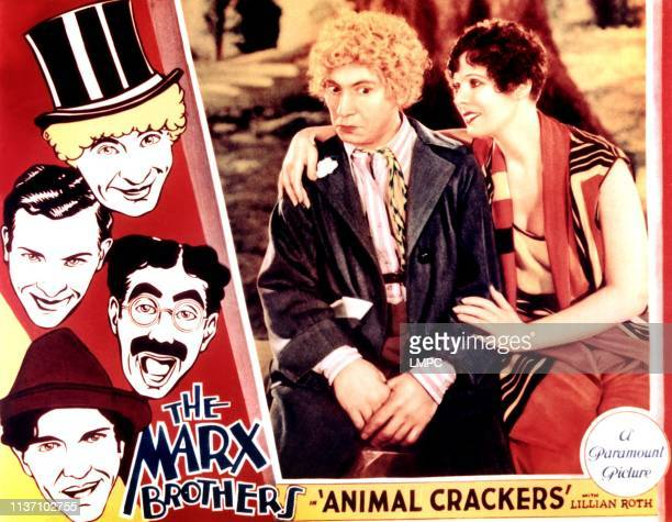 Animal Crackers lobbycard left from top Harpo Marx Zeppo Marx Groucho Marx Chico Marx right image from left Harpo Marx Margaret Irving 1930