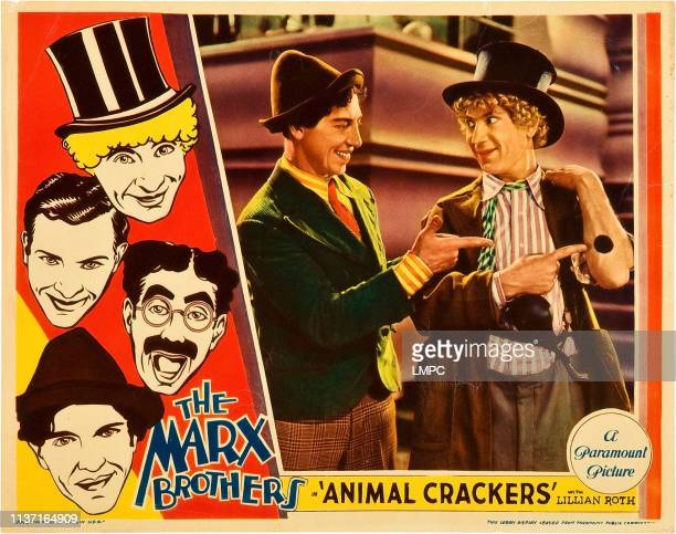Animal Crackers lobbycard left from top Harpo Marx Zeppo Marx Groucho Marx Chico Marx right from left Chico Marx Harpo Marx 1930