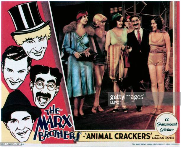 Animal Crackers lobbycard left from top Harpo Marx Zeppo Marx Groucho Marx Chico Marx second from right Groucho Marx 1930