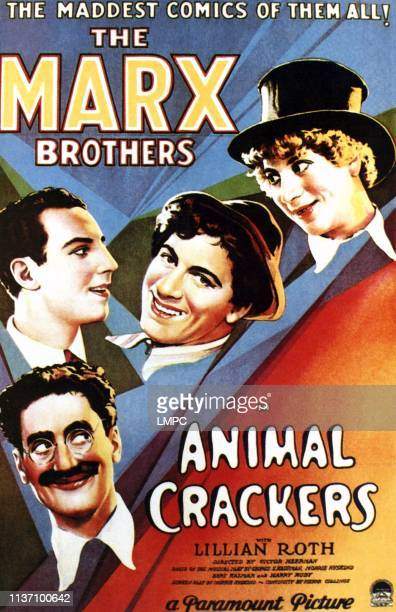 Animal Crackers poster from bottom left to top right Groucho Marx Zeppo Marx Chico Marx Harpo Marx 1930