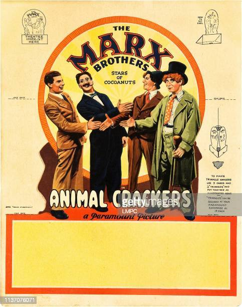 Animal Crackers poster The Marx Brothers lr Zeppo Marx Groucho Marx Chico Marx Harpo Marx on promotional tabletop standee 1930