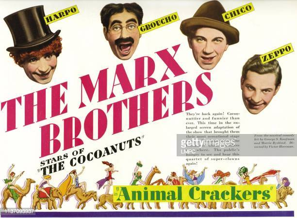 Animal Crackers poster The Marx Brotherstop lr Harpo Marx Groucho Marx Chico Marx Zeppo Marx 1930