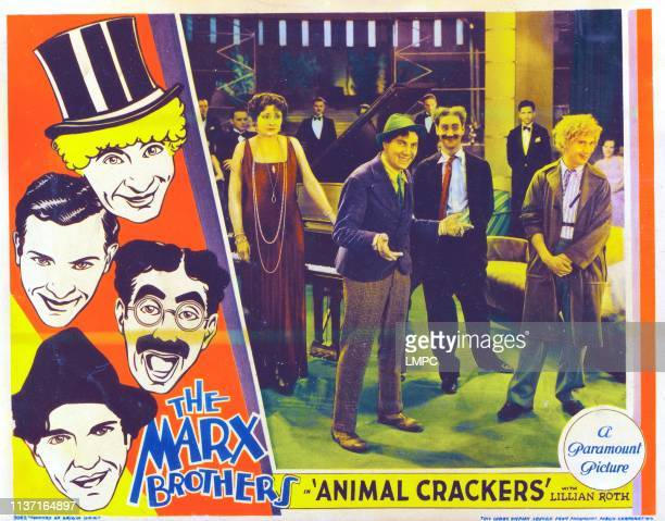 Animal Crackers poster US lobbycard left from top Harpo Marx Zeppo Marx Groucho Marx Chico Marx center from left Margaret Dumont Chico Marx Groucho...