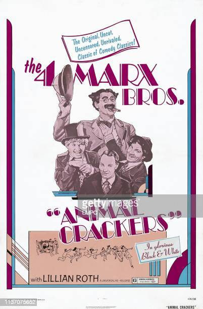 Animal Crackers poster US reissue poster from left Harpo Marx Groucho Marx Zeppo Marx Chico Marx 1930
