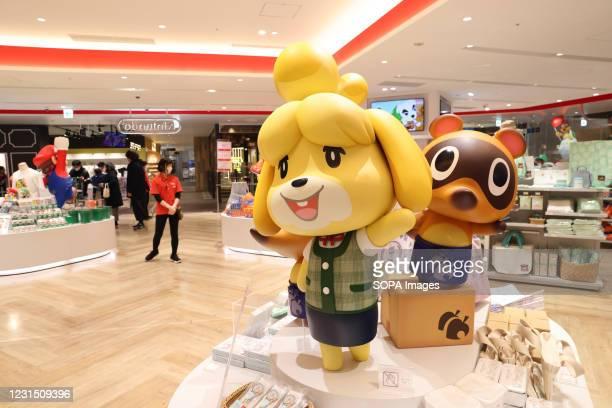 Animal Crossing figurines inside Nintendo Tokyo store in Shibuya.
