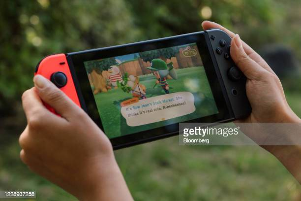 New Horizons on a Nintendo Switch game console in Seattle, Washington, U.S,, on Wednesday, Aug. 26, 2020. The game became a hit game during the...