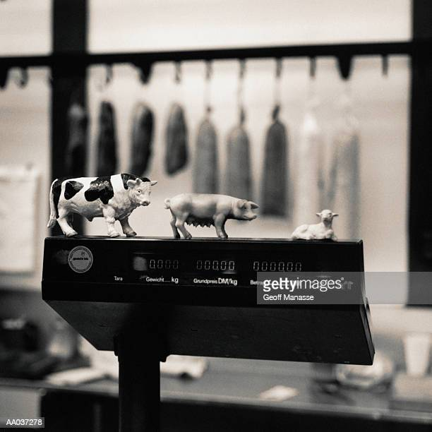 Animal Figurines in a Butcher Shop
