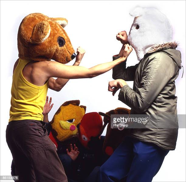 animal head fight - rabbit mask stock pictures, royalty-free photos & images