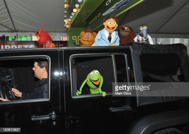 Animal Kermit the Frog Fozzie Bear Walter Rowlf and Gonzo arrive at the premiere of Walt Disney Pictures' The Muppets held at the El Capitan Theatre...