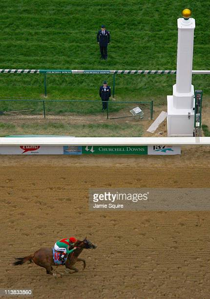 Animal Kingdom with jockey John Velazquez up crosses the finish line to win the 137th Kentucky Derby at Churchill Downs on May 7 2011 in Louisville...