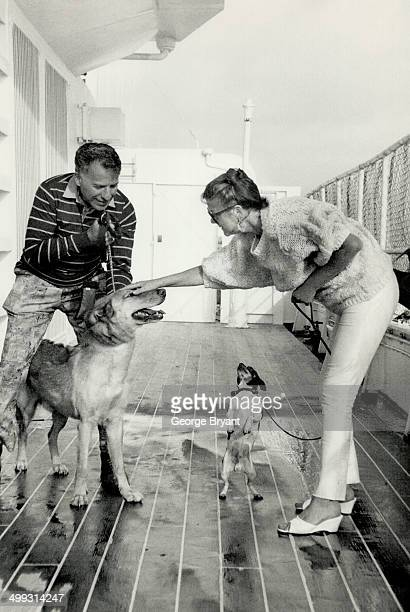 Animal lovers David and Christa Stanley of Philadelphia top exercise their dogs Nipper and Peewee in the run outside Kennels aboard the QE2 The...