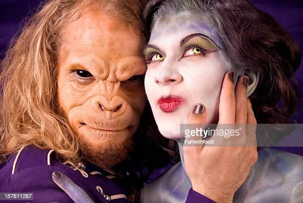 Animal Monkey Man Embracing Stage Makeup Fantasy Woman & Contact Lenses