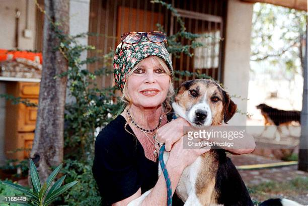 "Animal rights activist Brigitte Bardot visits her dog refuge ""The Nice Dogs"" of Carnoules on October 7, 2001 in Paris, France."