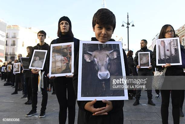 Animal rights activists hold posters of injured animals on International Day of the Animal Rights during a demonstration on Puerta del Sol Square in...