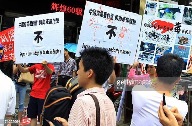 Animal rights activists protest against eating dog meat outside dog meat restaurants in Yulin, southwest China's Guangxi province on June 21, 2013....