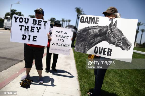 Animal rights activists protest horse racing deaths outside Santa Anita Park on June 23 2019 in Arcadia California 30 race horses have died at the...