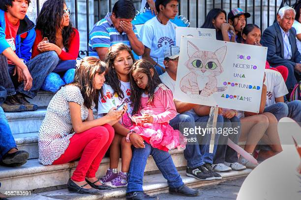 animal rights protesters in arequipa, peru - animal welfare stock pictures, royalty-free photos & images