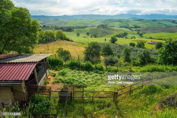 animal shed in tuscany - hügelkette stock-fotos und bilder