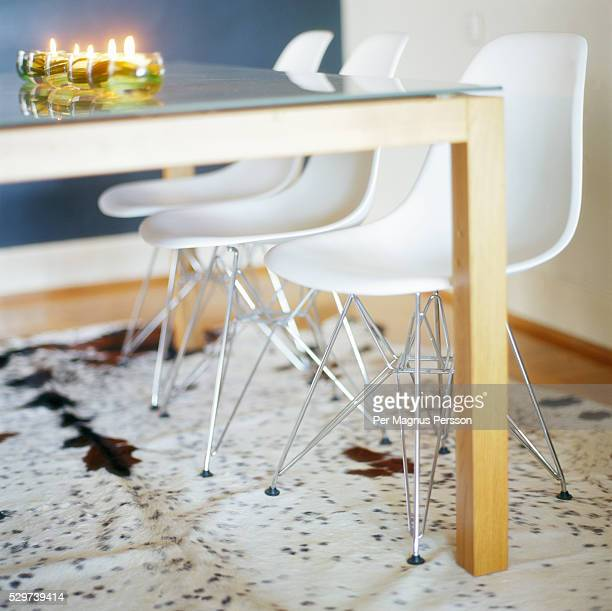 animal skin rug in dining room - animal skin rug stock photos and pictures