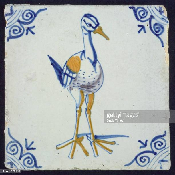Animal tile bird 'Leguatia gigantea' corner pattern ox head wall tile tile sculpture ceramic earthenware glaze baked 2x glazed painted Square three...