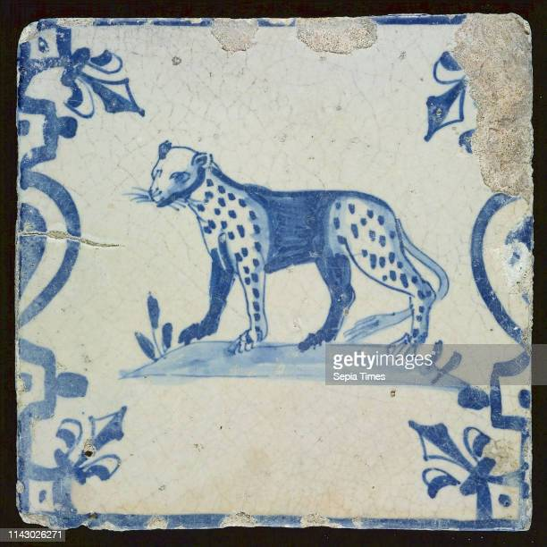 Animal tile, panther, corner pattern french lily, wall tile tile sculpture ceramic earthenware glaze, baked 2x glazed painted Square two nail holes....