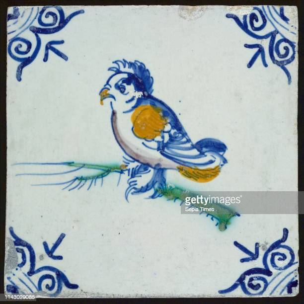 Animal tile with pigeon corner motif ox's head wall tile tile sculpture ceramic earthenware glaze baked 2x glazed painted Square three nail holes...