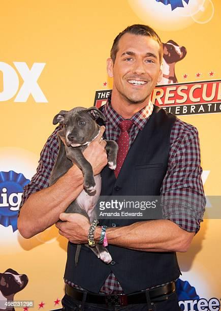 Animal trainer Brandon McMillan arrives at the All-Star Dog Rescue Celebration at Barker Hangar on November 21, 2015 in Santa Monica, California.