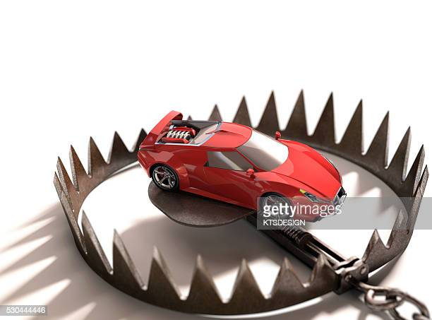 Animal trap with a toy car, illustration