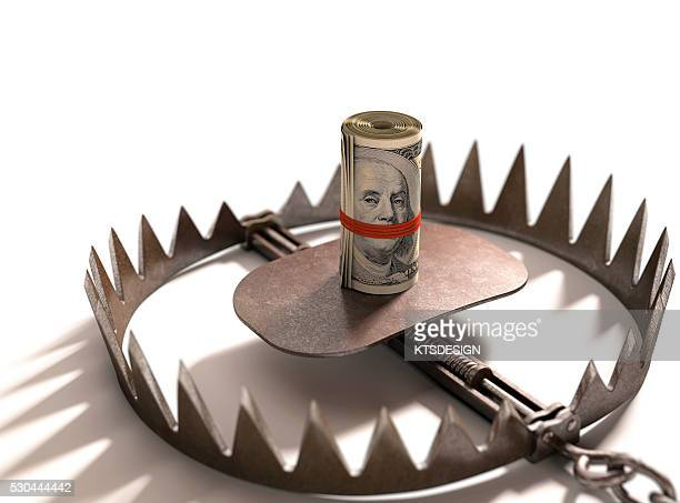 Animal trap with bank notes, illustration