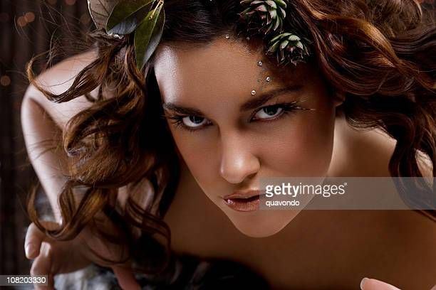 Animalistic Young Woman Fashion Model, Professional Makeup and Hairstyle