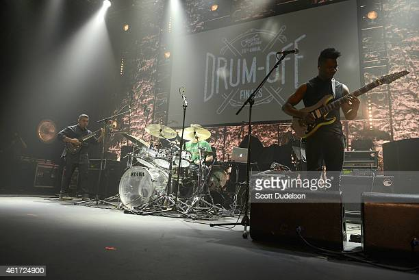 Animals as Leaders featuring guitarist Javier Reyes, drummer Matt Garstka and guitarist Tosin Abasi perform on stage with Animals as Leaders at Club...