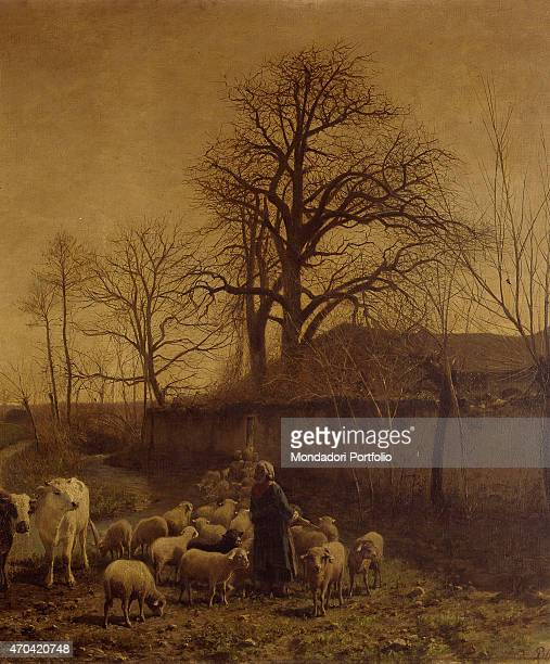 'Animals Conducted to the Drinking Trough by Carlo Pittara 18361891 20th Century Italy Lombardy Milan Brera Art Gallery Detail Rural landscape in an...