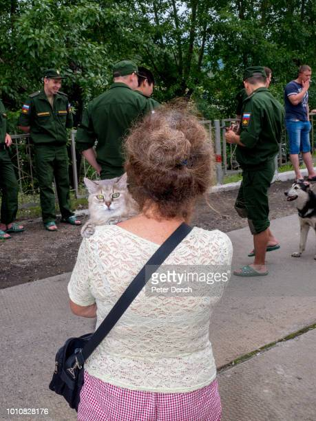 Animals mix with soldiers and civilians on the station during a stop on the TransSiberian Railway from MoscowVladivostok Spanning a length of 9289km...
