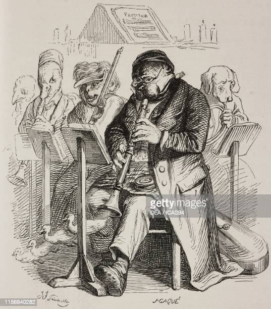 Animals playing oboe, violin and flugelhorn in an orchestra, humanized animals, engraving by J-Caque from a drawing by Grandville, from Scenes de la...