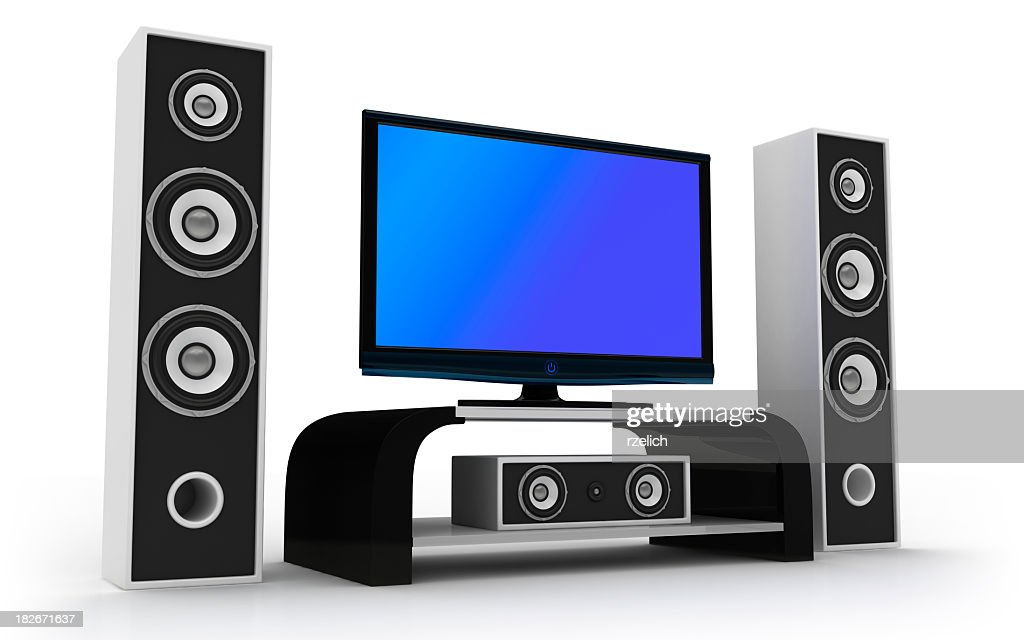 animated design of home theater and speakers stock photo getty images