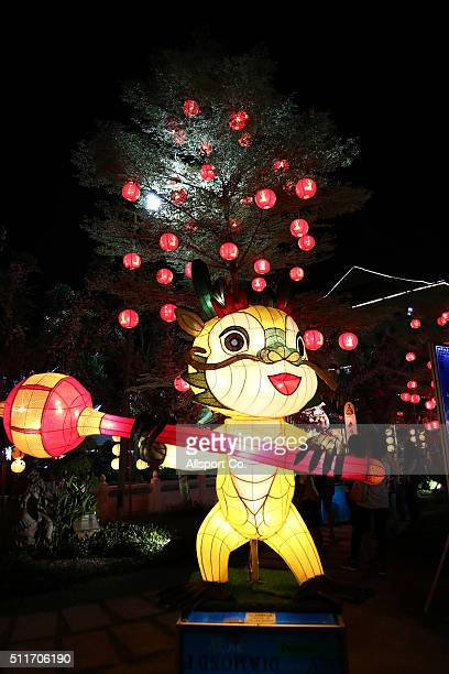 Animated lantern is displayed at the Fo Guang Shan Dong Zen Temple to celebrate the Lantern Festival on the last day of Chinese Lunar New Year...