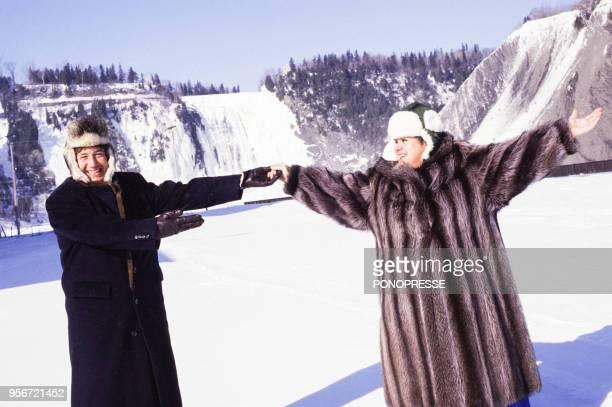 L'animateur Patrick Sabatier et la chanteuse Ginette Reno en février 1987 à Montréal Canada