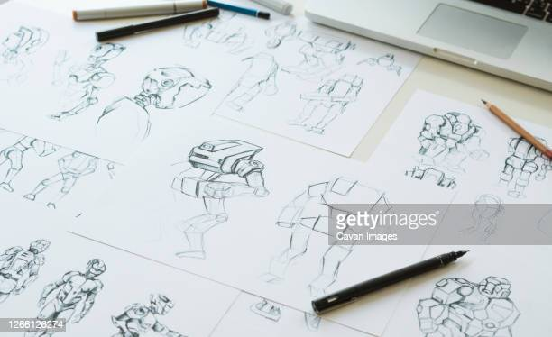 animation character design video game film production - storyboard stock pictures, royalty-free photos & images